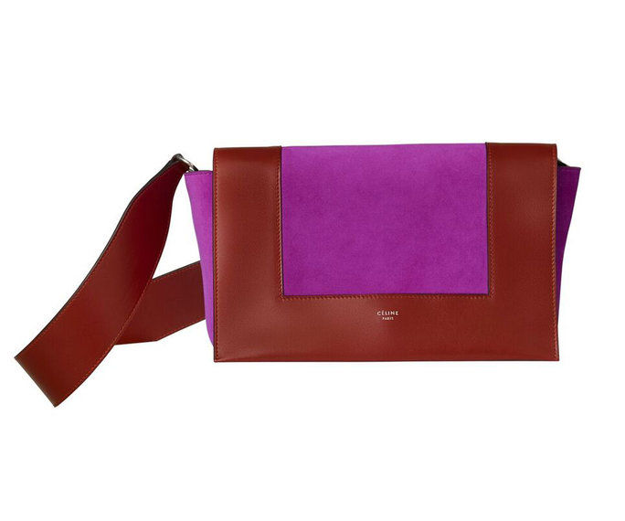 سيلين Shiny Smooth Calfskin and Suede Purse