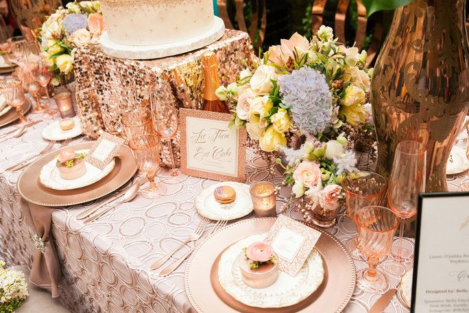 O'pehlia Rose Quartz overlays by Luxe Linens, rose gold chairs by Revelry Event Design, sweets by Vanilla Bake Shop and rose paper details by Proskalo Stationery.