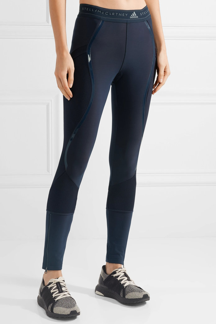 Адидас by Stella McCartney Climaheat ribbed knit-paneled stretch leggings
