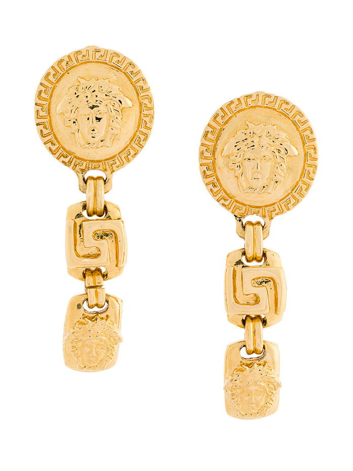 Берба Versace medusa drop earrings