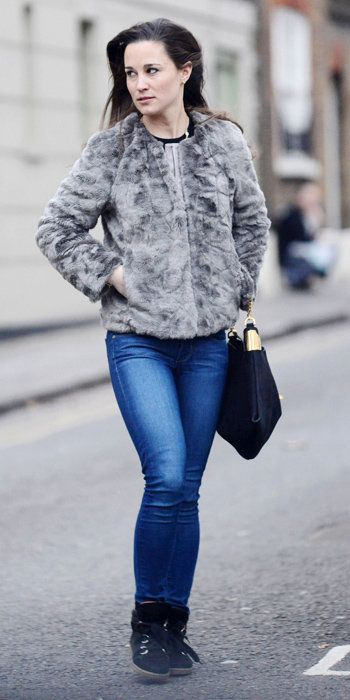 Пиппа Best Outfits - faux fur jacket by French Connection