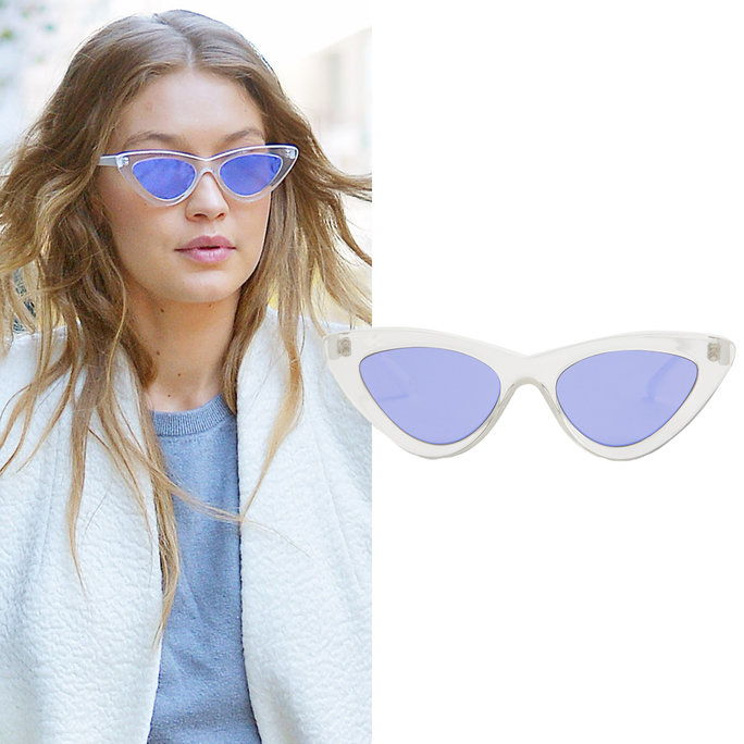 Гиги Hadid in Le Specs x Adam Selman sunglasses