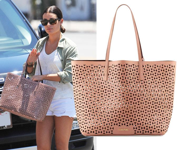 Леа Michele carrying an Elizabeth and James tote