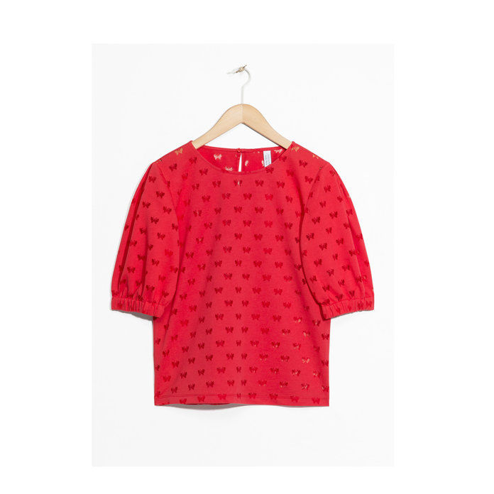 & & Other Stories Red Puffy Sleeve Blouse
