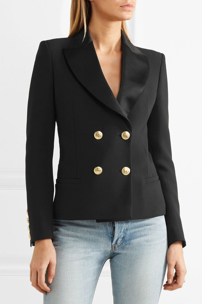 بيير Balmain Double-breasted crepe blazer