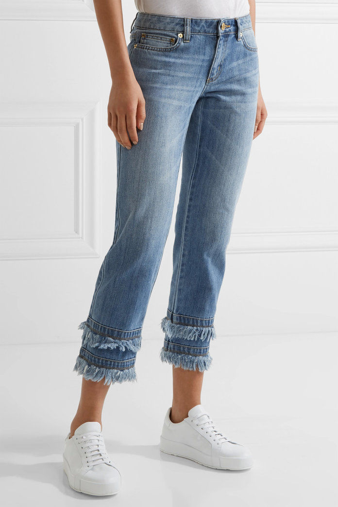ميخائيل Michael Kors Frayed Cropped Boyfriend Jeans