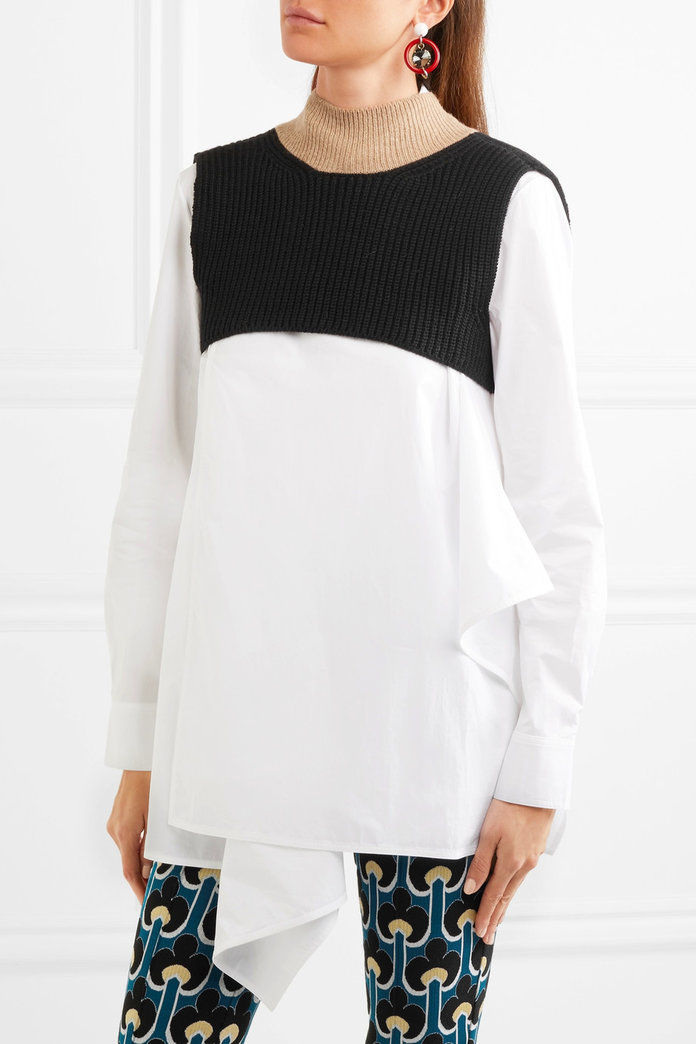 Марни Cropped ribbed wool-blend turtleneck sweater