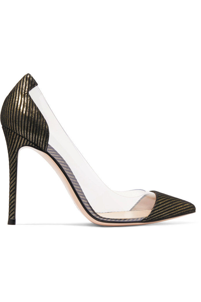 Гианвито Rossi Metallic-striped suede and PVC pumps