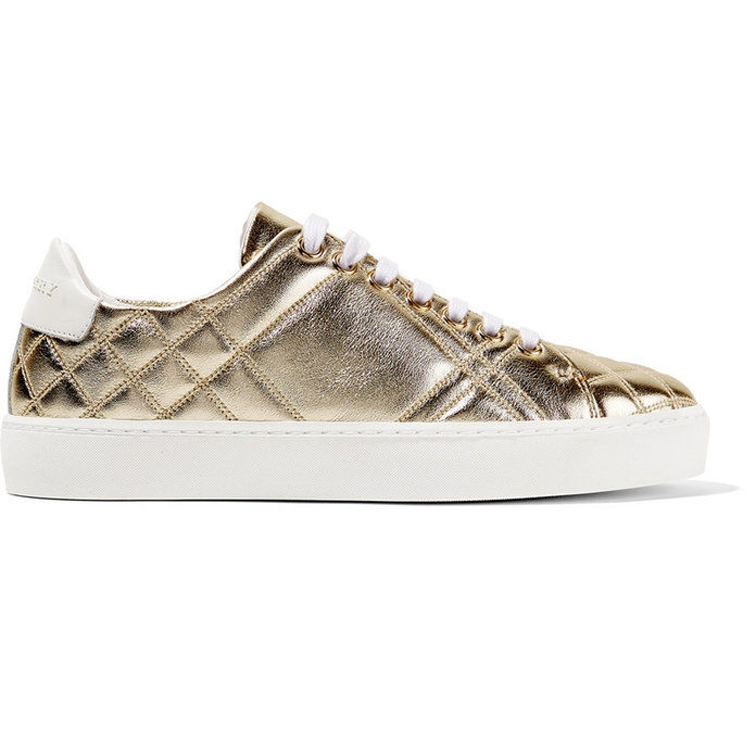 Куилтед metallic leather sneakers