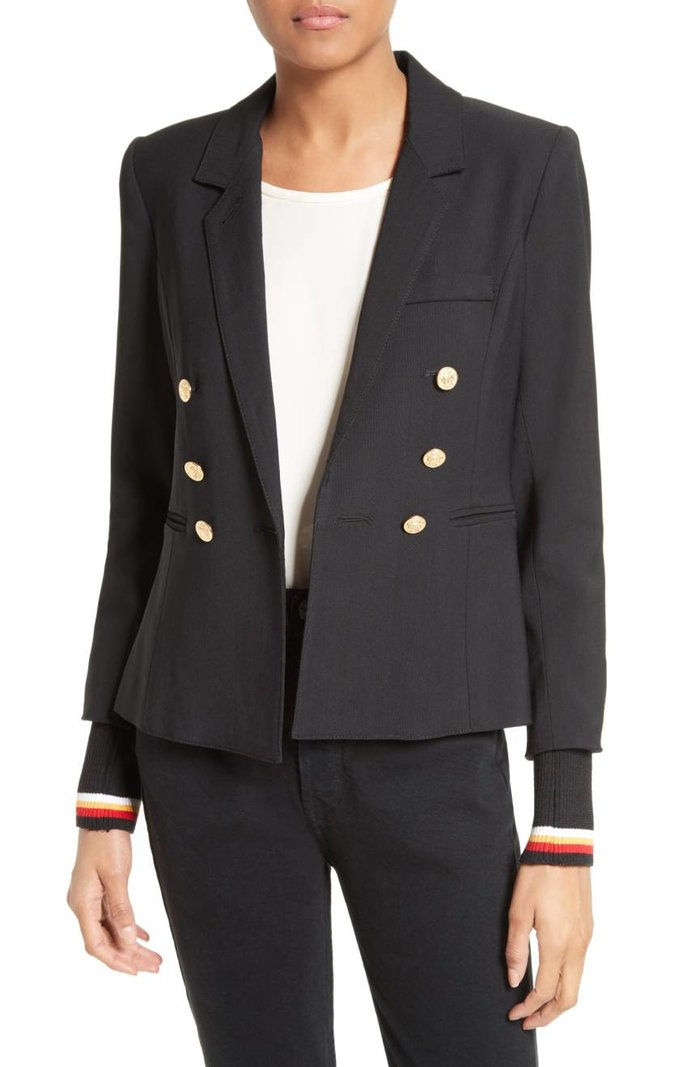 سميث College Double Breasted Blazer with Detachable Knit Cuffs