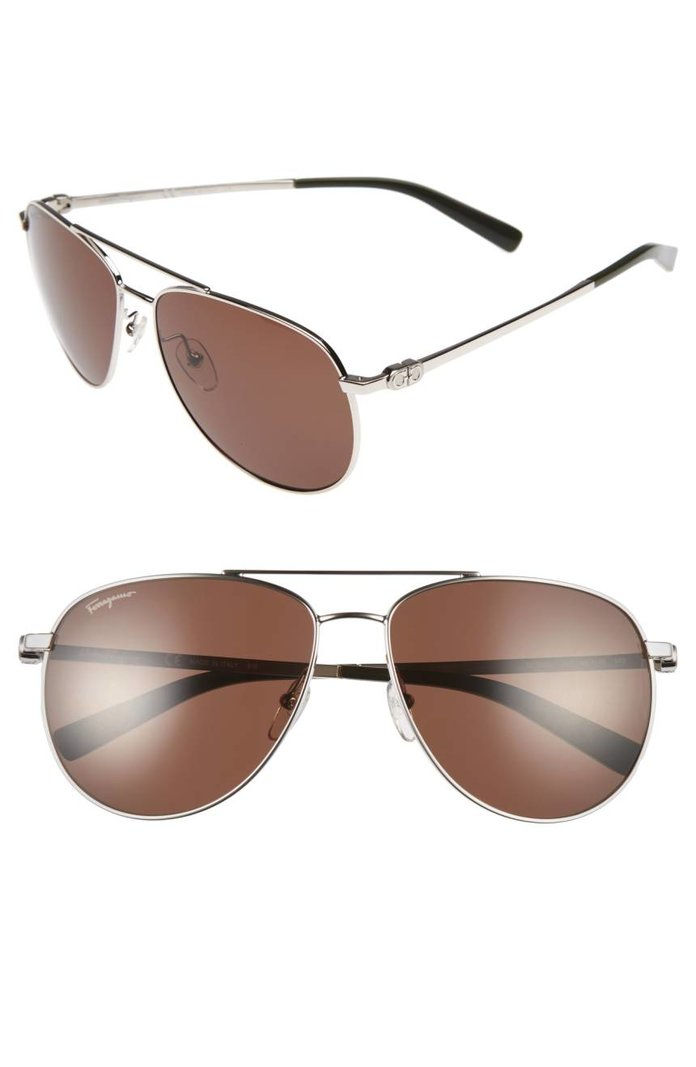 سالفاتوري Ferragmo Gancio 60mm Aviator Sunglasses