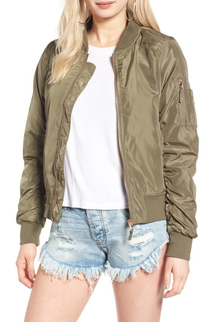 Стеве Madden Side Zip Bomber Jacket