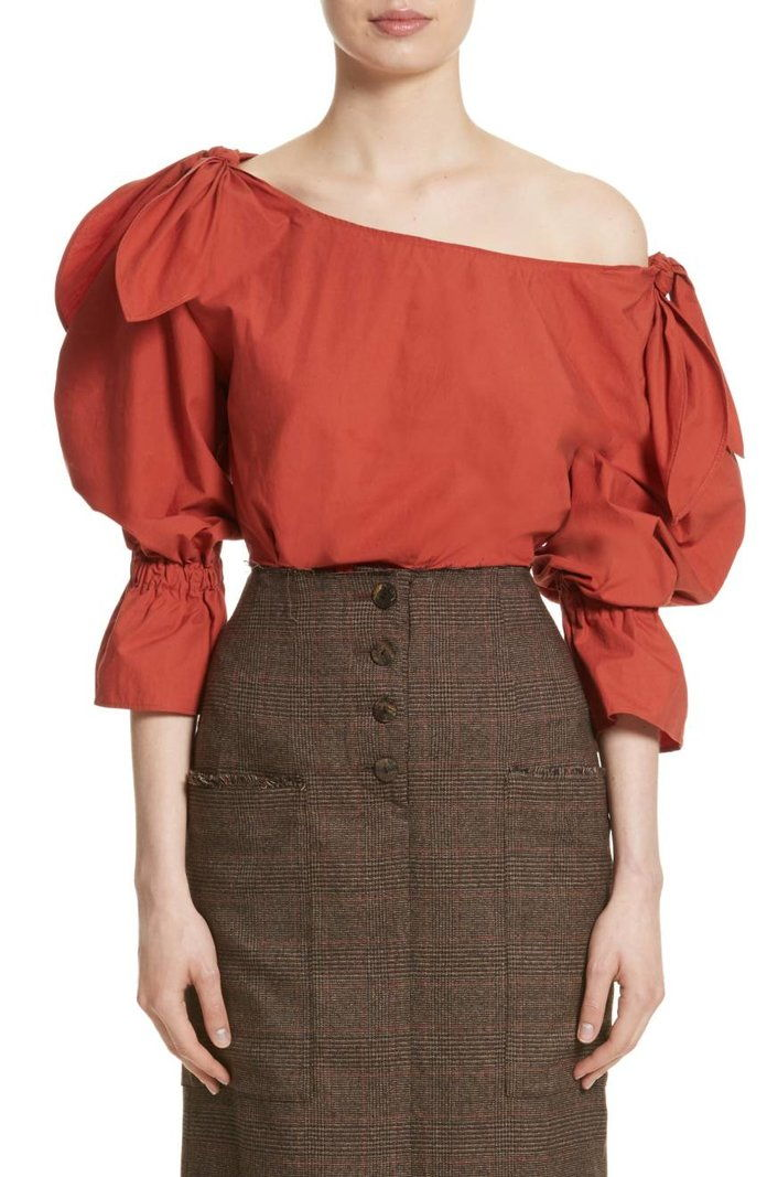 Rejina Pyo Michelle One-Shoulder Puff Sleeve Blouse