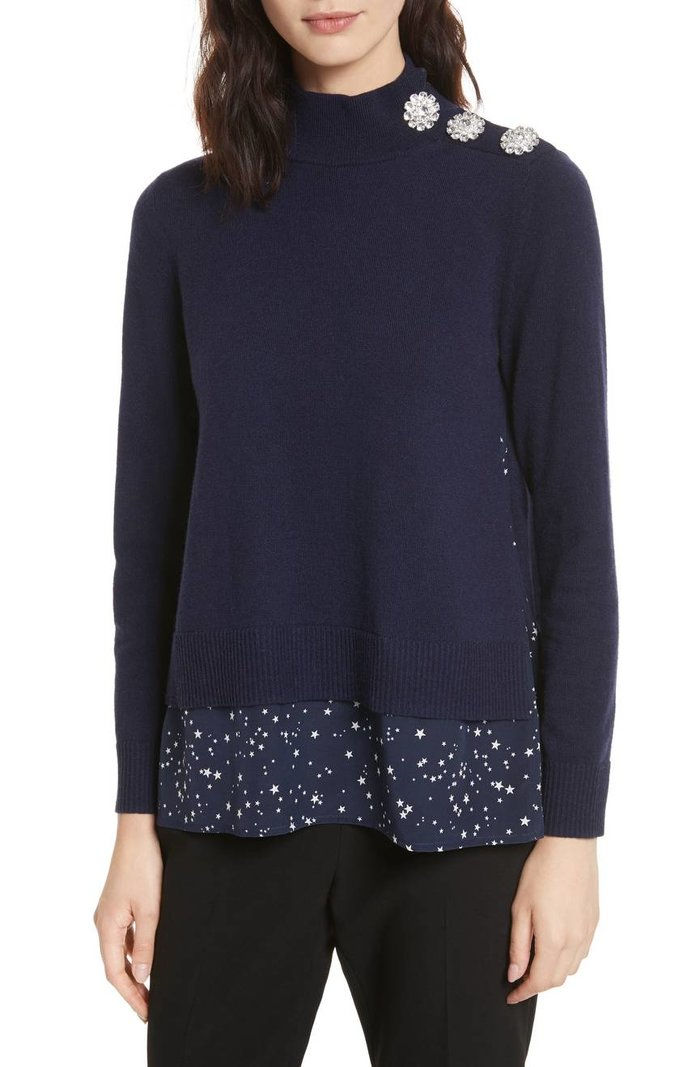 كيت Spade night sky mixed media sweater