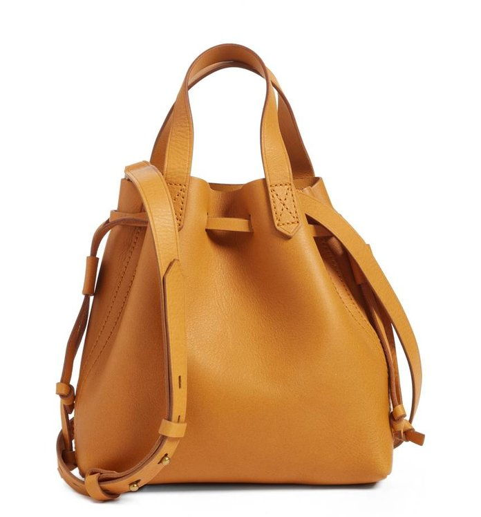 Мадевелл The Mini Pocket Transport Leather Drawstring Tote MADEWELL