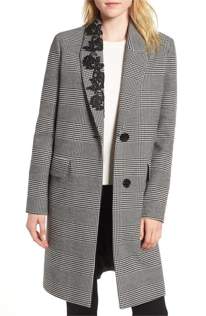 واد صغير منعزل Plaid Lace Trim Coat