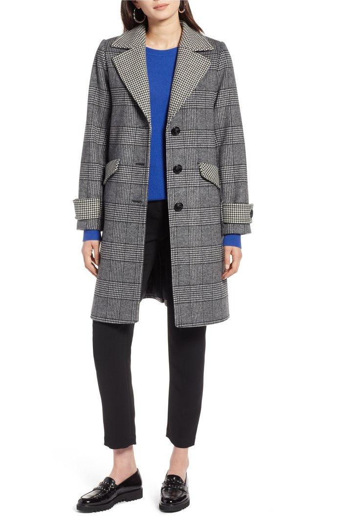 مربع النقش Mix Wool Coat