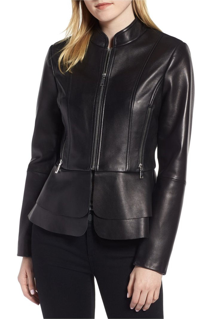 ال Peplum Hem Leather Jacket