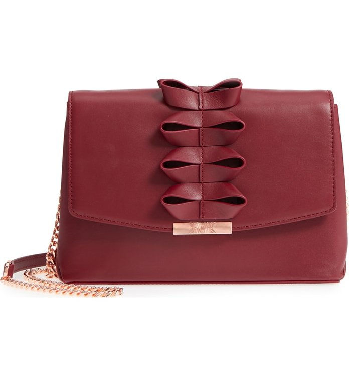 Тед Baker London Looped Bow Leather Shoulder Bag
