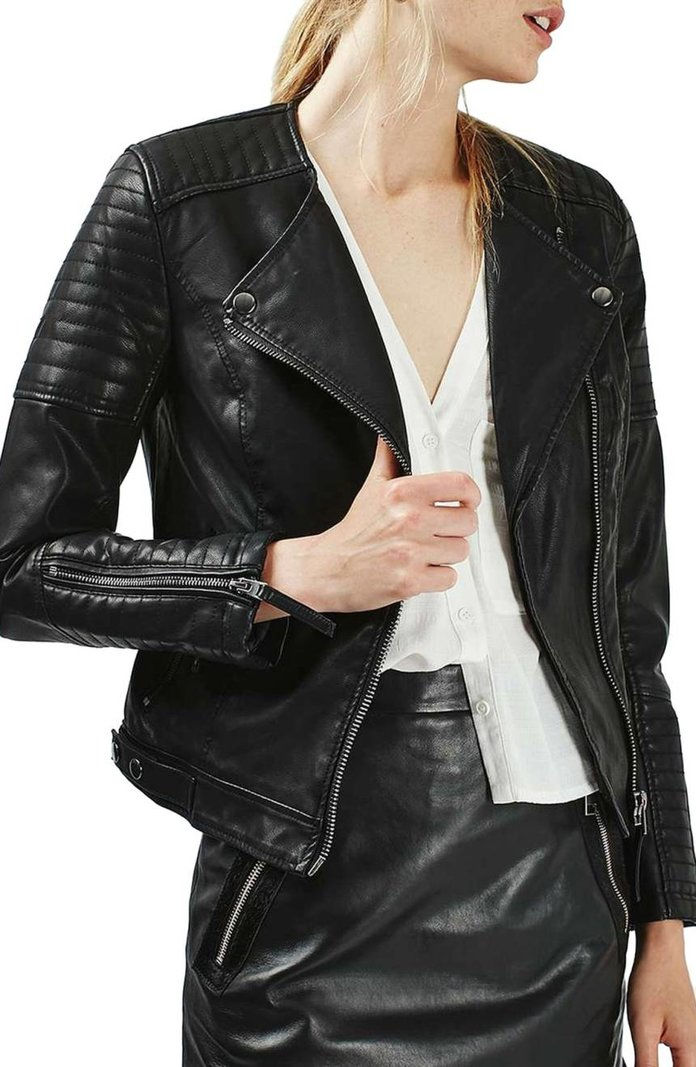 Топсхоп Nelly Faux Leather Biker Jacket