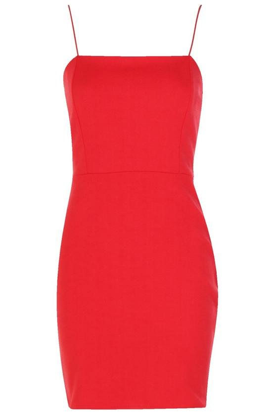 كريب Square Neck Bodycon Dress