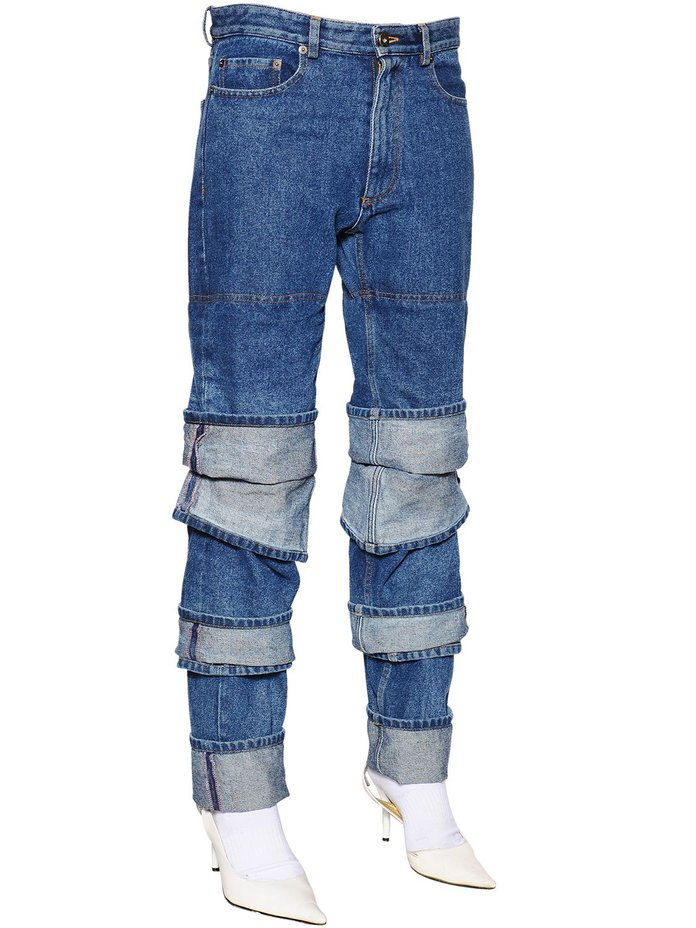 الطبقات Cuffs Cotton Denim Jeans