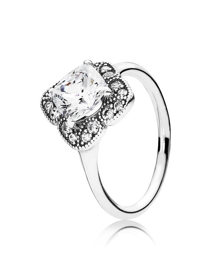 باندورا Sterling Silver & Cubic Zirconia Floral Fancy