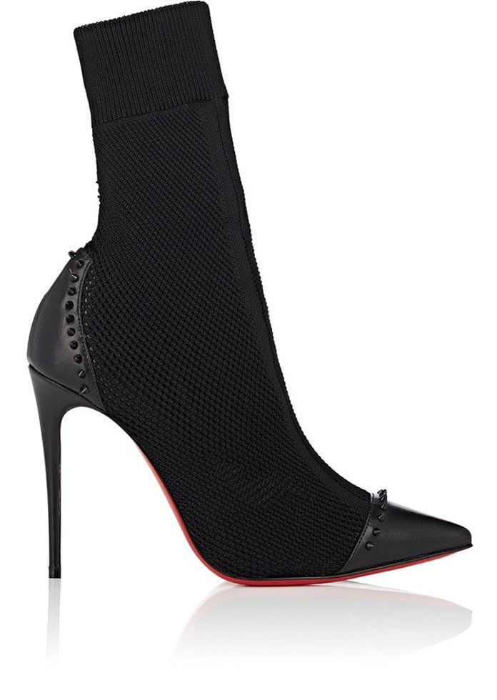 مسيحي Louboutin Dovi Dova Knit & Leather Ankle Boots