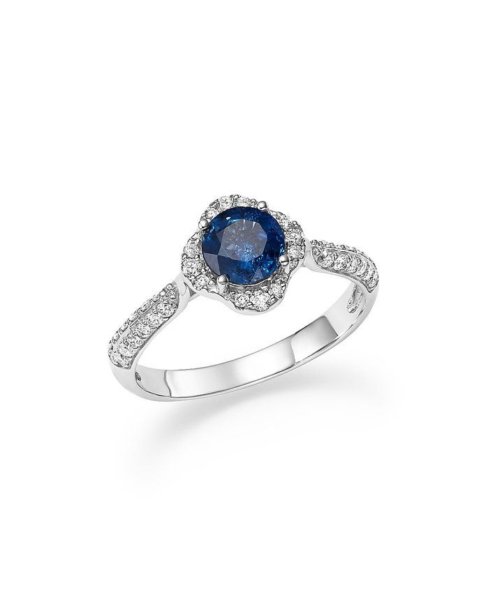 بلوومينغدل's Sapphire with Diamond Halo Ring in 14K White Gold
