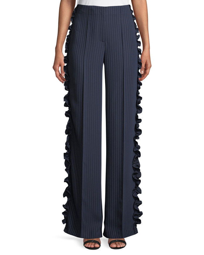 Седона Wide-Leg Pinstripe Pants with Ruffled Trim