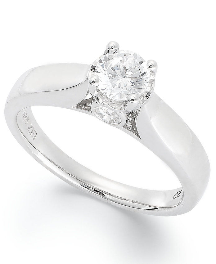 ميسي's Diamond Engagement Ring in 14k White Gold