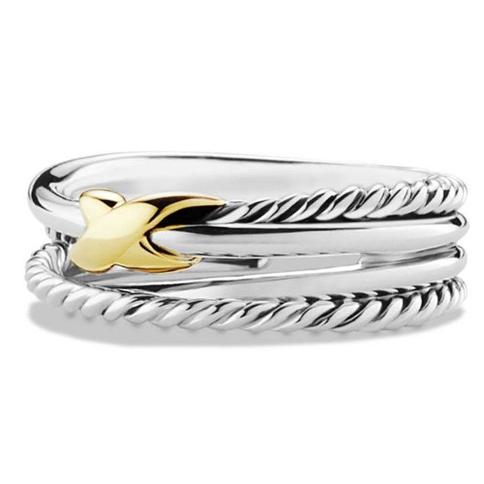 Икс Crossover Ring with Gold