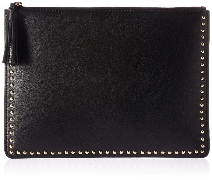 Тхе Fix Cora Studded Leather Flat Clutch with Tasseled Zipper