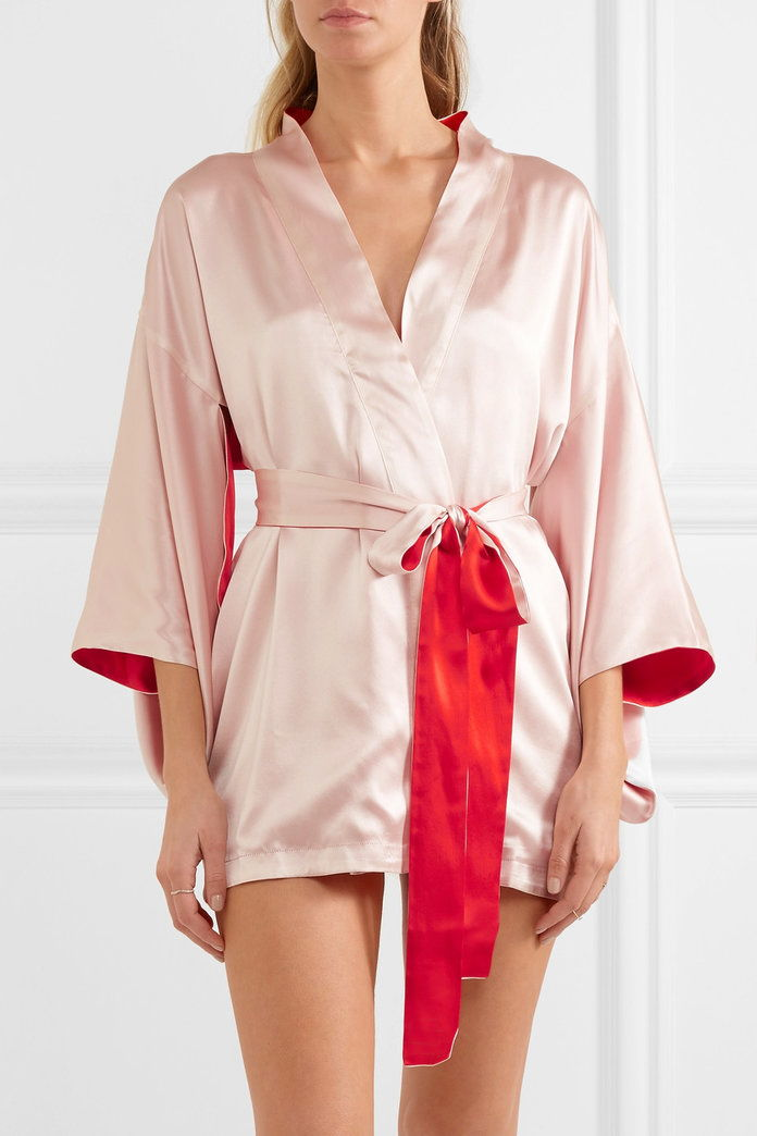 ЕЛЛЕ MACPHERSON BODY Free embroidered silk-satin robe