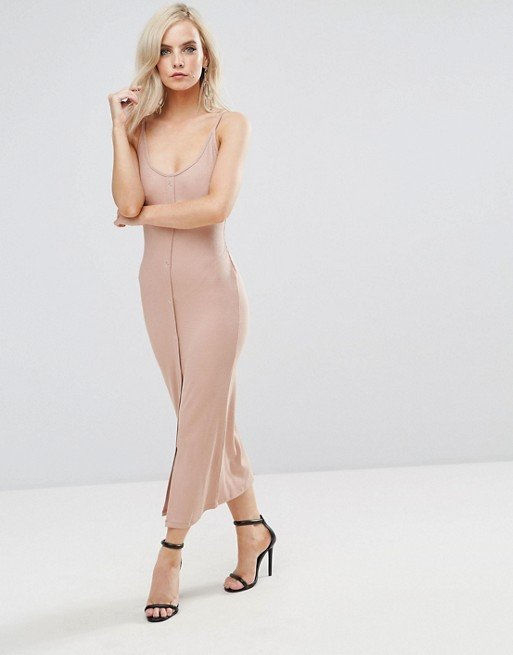 ASOS PETITE Bodycon Maxi Dress with Popper Details