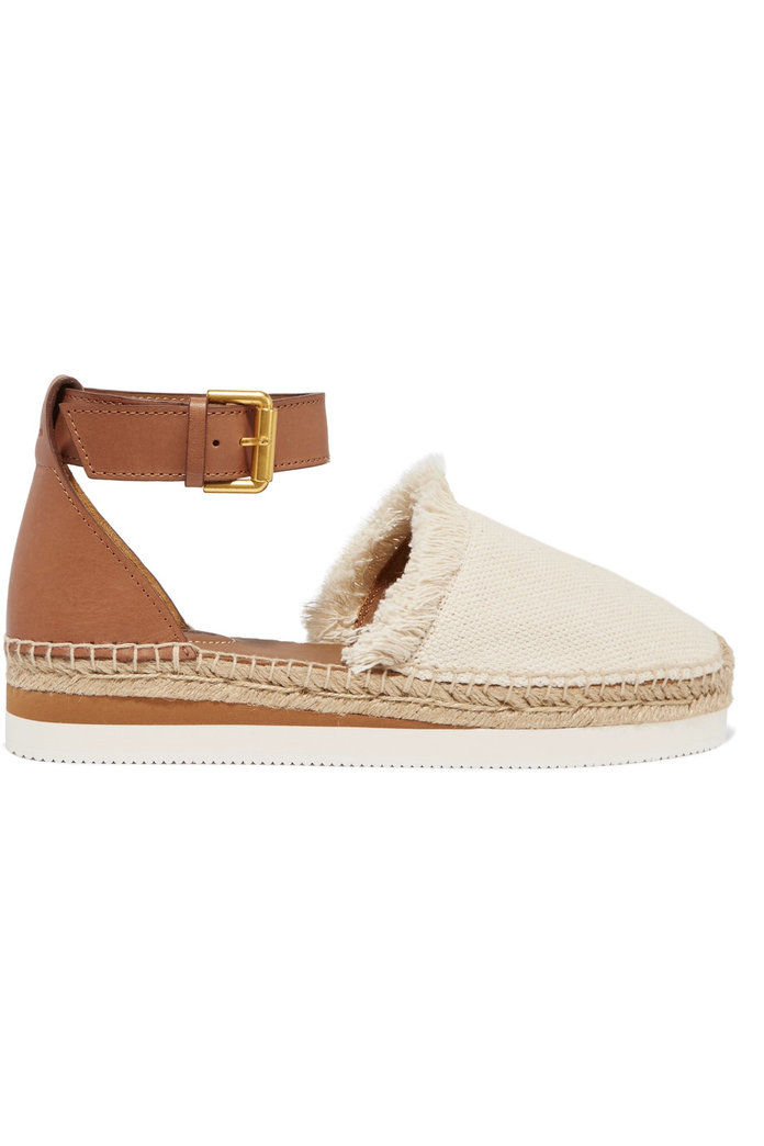 Фрингед Canvas and Leather Espadrilles