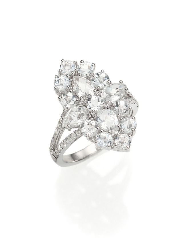 ميرا T Pavé Diamond, White Topaz & 14K White Gold Ring