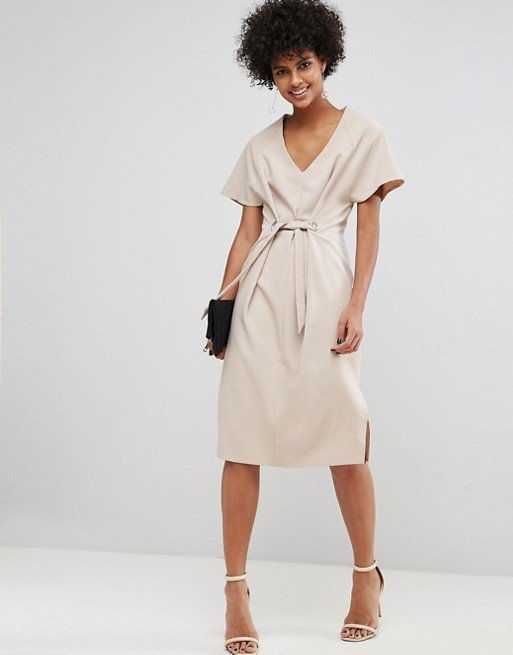ASOS V Neck Column Midi Dress with Eyelet and Tie