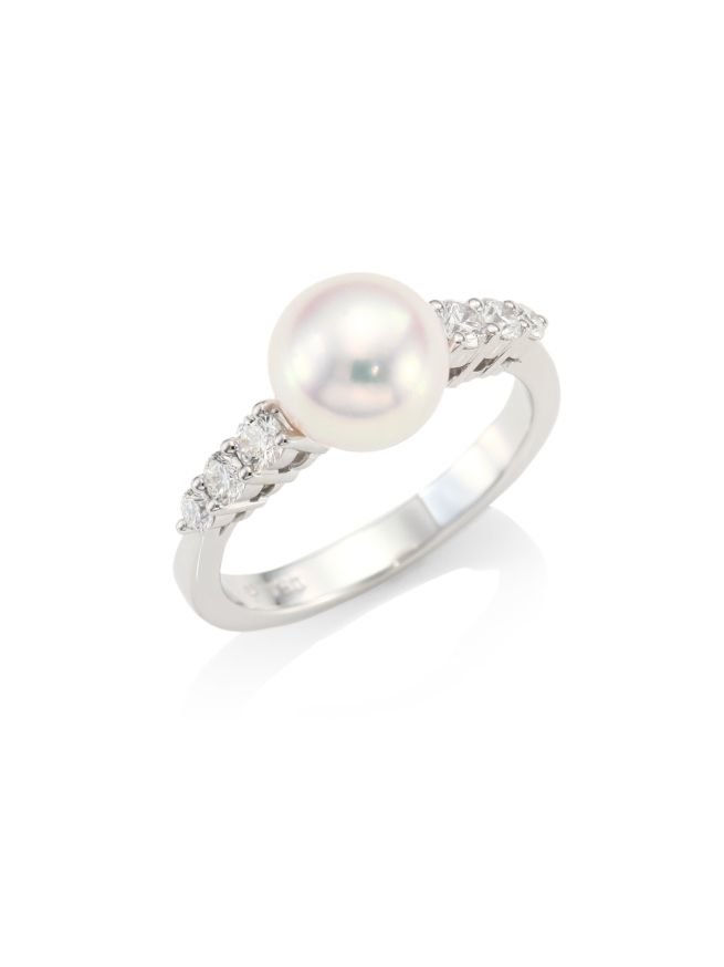ميكيموتو Morning Dew 8mm Cultured Pearl, Diamond & 18K White Gold Ring