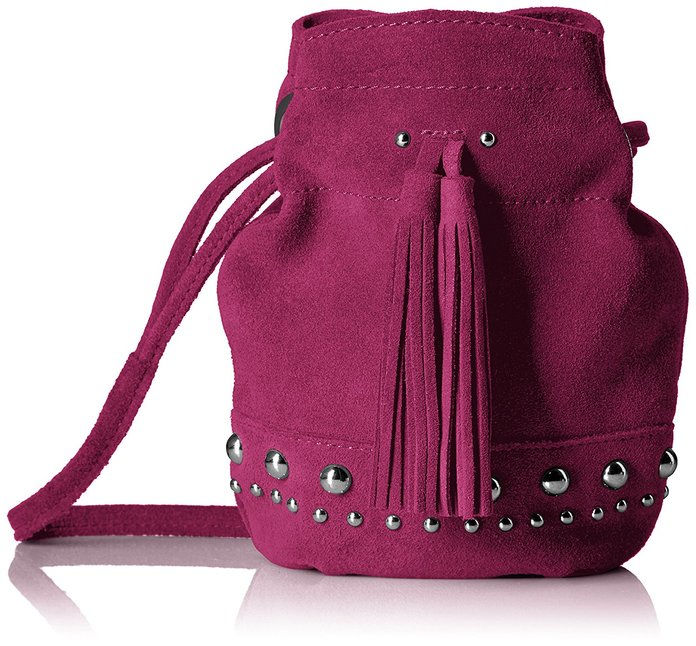 ال Fix Kirby Mini Studded Suede Bucket Crossbody Bag