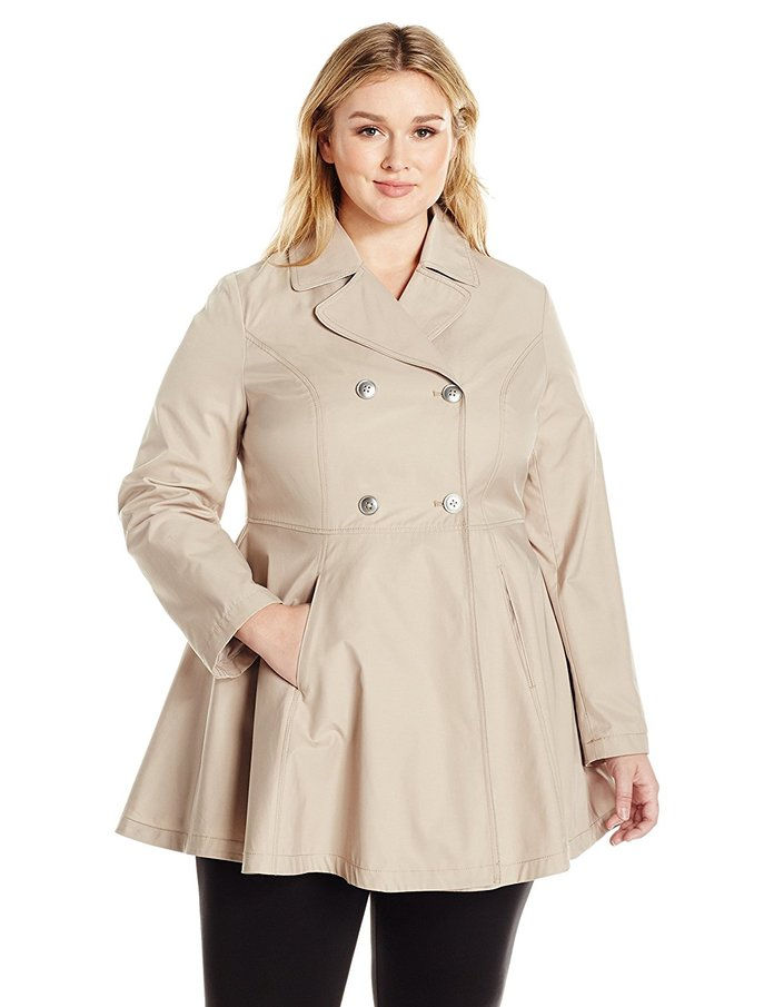 Ларк & Ro Plus Size Fit and Flare Trench Coat Coat