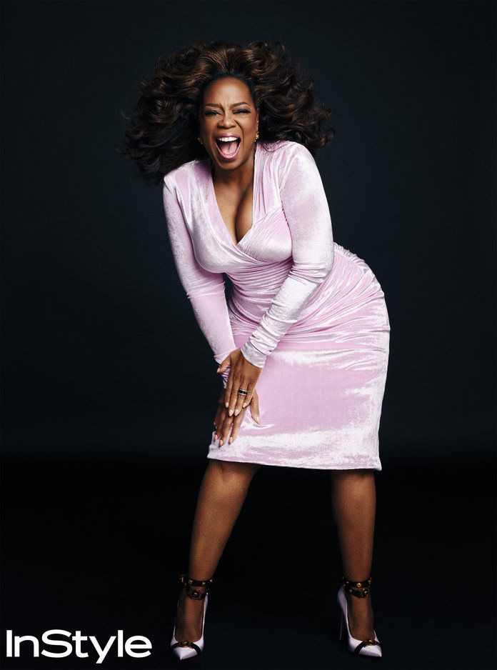 Опрах Winfrey wearing a pink dress for the InStyle March cover story shoot