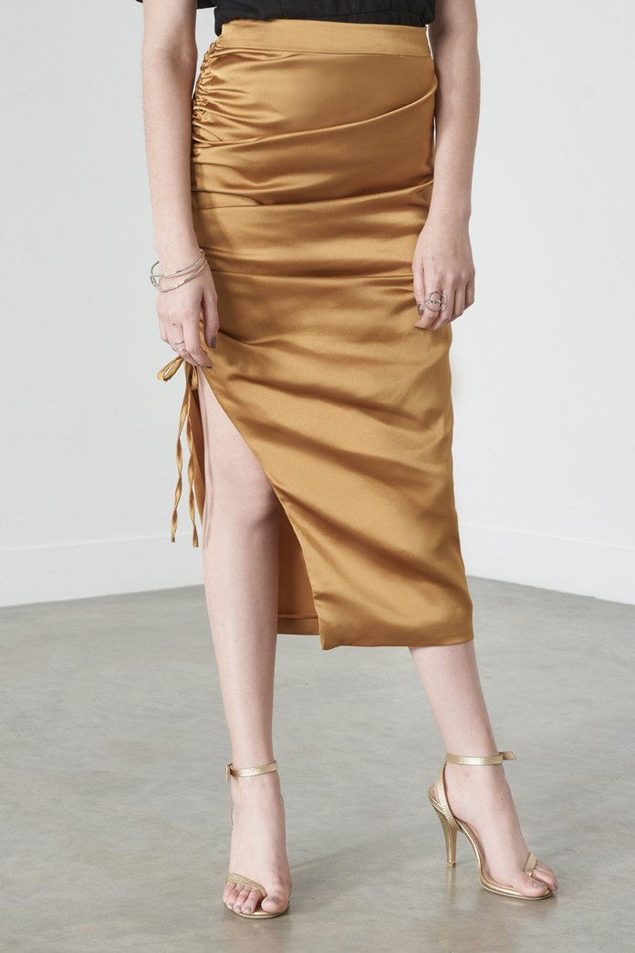 مسرف Alice Drawcord Pencil Skirt in Gold