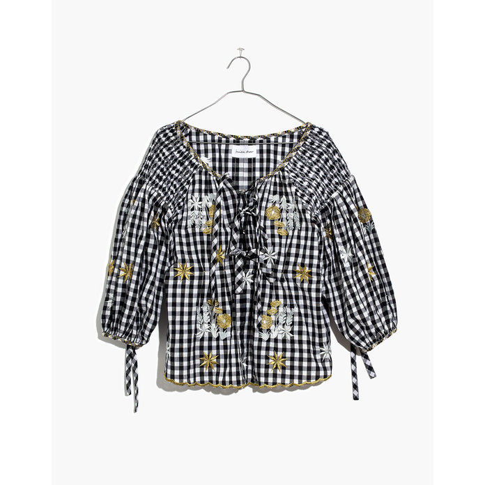Мадевелл Gingham Puffy Sleeve Blouse